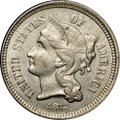 Three Cent Nickels, 1873 3CN Open 3 MS61 NGC. Green-gold and pearl-gray hues appear in bands on the obverse and with more organic borders on th...