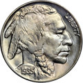 """Buffalo Nickels, 1935 5C MS66 NGC. CAC. Ex: """"Col."""" E.H.R. Green. Pale toning, a mixof white-blue and golden hues, enriches each side of thi..."""