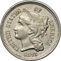 Three Cent Nickels, 1875 3CN AU58 NGC. Luminous with only a hint of rub. A pleasing peach overtone settles over medium-gray surfaces that show ...