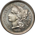 Proof Three Cent Nickels, 1879 3CN PR65 NGC. CAC. Light gold-to-green overtones gracepearl-gray surfaces. A well-defined Gem proof struck from a hea...