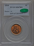 Lincoln Cents: , 1934 1C MS67 Red PCGS. CAC. PCGS Population (277/8). NGC Census:(394/3). Mintage: 219,080,000. Numismedia Wsl. Price for p...