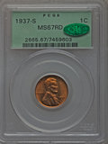 Lincoln Cents: , 1937-S 1C MS67 Red PCGS. CAC. PCGS Population (160/0). NGC Census:(376/0). Mintage: 34,500,000. Numismedia Wsl. Price for ...
