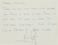 Autographs:Celebrities, Neil Armstrong Autograph Note Signed with Hand-Addressed Envelope,Sent to a Young Girl in 1969. ...