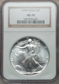 Modern Bullion Coins, 1994 $1 Silver Eagle MS70 NGC....