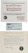 Explorers:Space Exploration, Buzz Aldrin Personal Check Signed with Two Achievement CertificatesOriginally from His Personal Collection.... (Total: 3 Items)