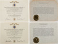 Explorers:Space Exploration, Buzz Aldrin's U.S. Air Force Distinguished Service Medal and FirstOak Leaf Cluster Award Documents and Citations Originally f...(Total: 9 Items)