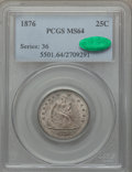 Seated Quarters: , 1876 25C MS64 PCGS. CAC. PCGS Population (120/75). NGC Census:(74/71). Mintage: 17,817,150. Numismedia Wsl. Price for prob...