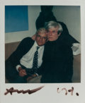 Photographs, ANDY WARHOL (American, 1928-1987). Untitled (David Hockney and Andy Warhol), circa 1980. Polaroid. 4-1/4 x 3-1/2 inches ...