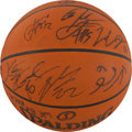 Basketball Collectibles:Balls, 2010-11 Chicago Bulls Game Used Team Signed Basketball From FinalGame of Season vs. Miami. ...