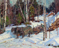 ALDRO THOMPSON HIBBARD (American, 1886-1972) Logging in Vermont Oil on canvas laid down on cradled p