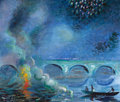 Fine Art - Work on Paper:Watercolor, THEODORE EARL BUTLER (American, 1861-1936). Fireworks, Bridge at Vernon, France, circa 1908. Gouache on paper. 15-1/2 x ...