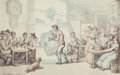 Fine Art - Work on Paper:Watercolor, THOMAS ROWLANDSON (British, 1756-1827). In the Tavern (TheInterior of an Inn), 1812. Watercolor and ink on paper.9-1/2...
