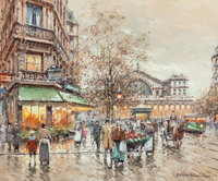 ANTOINE BLANCHARD (French, 1910-1988) Gare de L'Est Oil on canvas 20 x 24 inches (50.8 x 61.0 cm)