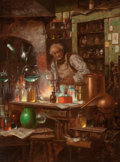 Fine Art - Painting, European:Antique  (Pre 1900), CHARLES LOUIS LUCIEN MULLER (French, 1815-1892). TheChemist. Oil on canvas. 12 x 9-1/8 inches (30.5 x 23.2 cm).Signed ...
