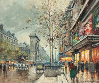 ANTOINE BLANCHARD (French, 1910-1988) Les Grands Boulevards et La Porte Saint Denis, Paris Oil on ca