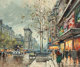 ANTOINE BLANCHARD (French, 1910-1988) Les Grands Boulevards et La Porte Saint Denis, Paris Oil on canvas 18 x 21-1/2