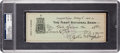 Autographs:Checks, 1920 Honus Wagner Signed Check, PSA/DNA NM-MT 8....