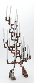 Post-War & Contemporary:Contemporary, JOEL OTTERSON (American, b. 1959). Candelabra, circa 1988.Iron, steel, glass, and wax candles. 52 x 25 x 25 inches (132...