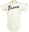 Baseball Collectibles:Uniforms, 1968 Dusty Baker Game Worn Rookie Jersey. Home white pinstriped Atlanta Braves jersey is quite possibly the first shirt eve...