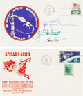 Autographs:Celebrities, Apollo 9 Crew-Signed Launch Cover with Manned LEM Test Cover. ...(Total: 2 Items)