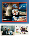 Explorers:Space Exploration, Space Shuttle Columbia (STS-35) Crew-Signed Large PhotoMontage with Two Related Items Signed by Vance Brand. ... (Total: 3)