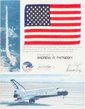 Explorers:Space Exploration, Space Shuttle Columbia (STS-2) Flown American Flag onPresentation Certificate. ...