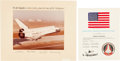 Explorers:Space Exploration, Space Shuttle Enterprise (ALT) Flown American Flag on Crew-Signed Presentation Certificate, with a Large Color Pho... (Total: 4 )