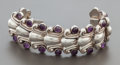 Silver & Vertu:Smalls & Jewelry, AN ANTONIO PINEDA MEXICAN SILVER AND AMETHYST QUARTZ BRACELET. Antonio Pineda, Taxco, Mexico, circa 1955. Marks: (Antonio-cr...