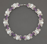 AN ANTONIO PINEDA MEXICAN SILVER AND AMETHYST QUARTZ NECKLACE Antonio Pineda, Taxco, Mexico, circa 1955 Marks: