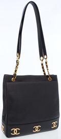 Luxury Accessories:Bags, Chanel Black Caviar Leather Shoulder Bag with Gold CC Details. ...