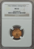 Commemorative Gold: , 1926 $2 1/2 Sesquicentennial MS62 NGC. NGC Census: (1185/5447).PCGS Population (1372/8834). Mintage: 46,019. Numismedia Ws...