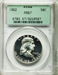 Proof Franklin Half Dollars: , 1962 50C PR67 PCGS. PCGS Population (2350/1067). NGC Census:(6139/2077). Mintage: 3,218,019. Numismedia Wsl. Price for pro...