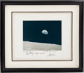 "Autographs:Celebrities, Apollo 8 ""Earthrise"" Large Color Photo Signed on the Mat by MissionCommand Module Pilot James Lovell, in Framed Presentation...."