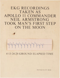 """Neil Armstrong EKG Strip, Recorded as He Made that Legendary """"Giant Leap for Mankind"""" on the Moon, Mounted on..."""