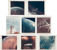 """Gemini 11 Collection of Eighteen Original NASA Color Glossy Photos Including Sixteen with """"Red Numbers."""""""