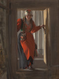 Fine Art - Painting, European:Modern  (1900 1949)  , ANDERS LEONARD ZORN (Swedish, 1860-1920). Entering theCellar, 1916. Oil on canvas. 38-1/2 x 29 inches (97.8 x 73.7cm)...