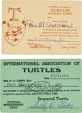 Explorers:Space Exploration, International and Interstellar Association of Turtles: Two Membership Cards.... (Total: 2 Items)