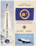 Explorers:Space Exploration, Space Shuttle Discovery (STS-26) Flown NASA Flag onPresentation Certificate, with NASA Color Photo Collection. ...(Total: 5 )