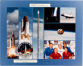 Explorers:Space Exploration, Space Shuttle Discovery (STS-26) Flown Crew Patch on LargeCrew-Signed Photo Montage....