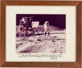 """Autographs:Celebrities, John Young Large Apollo 16 """"Leaping Salute"""" Color Photo Signed onMat. ..."""