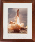 Autographs:Celebrities, Jack Lousma Large Columbia (STS-3) Color Launch Photo Signed on Mat....