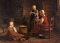 Fine Art - Painting, European:Other , EVERT PIETERS (Dutch, 1856-1932). Waiting for Supper. Oil oncanvas. 36 x 48 inches (91.4 x 121.9 cm). Signed lower righ...