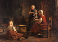 EVERT PIETERS (Dutch, 1856-1932) Waiting for Supper Oil on canvas 36 x 48 inches (91.4 x 121.9 cm