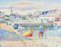 Fine Art - Painting, European:Other , YVONNE CANU (French, 1921-2008). Port Haliguen, France. Oilon canvas. 19-3/4 x 25-3/4 inches (50.2 x 65.4 cm). Signed l...