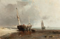 Fine Art - Painting, European:Antique  (Pre 1900), LOUIS BENTABOLE (French, 1820-1880). Fishing Boats on the Shoreat Low Tide, 1859. Oil on canvas. 10-3/4 x 16 inches (27...