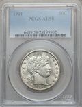 Barber Half Dollars: , 1901 50C AU58 PCGS. PCGS Population (48/162). NGC Census: (49/136).Mintage: 4,268,813. Numismedia Wsl. Price for problem f...