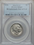 Errors, 1936 5C Buffalo Nickel -- Broadstruck Out of Collar -- MS63 PCGS....