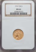 Indian Quarter Eagles, 1914 $2 1/2 MS62 NGC....