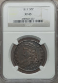 Bust Half Dollars: , 1811 50C Large 8 XF45 NGC. NGC Census: (70/729). PCGS Population(38/253). Mintage: 1,203,644. Numismedia Wsl. Price for pr...