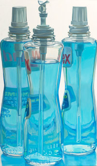 JANET FISH (American, b. 1938) Windex Bottles Oil on canvas 49-3/4 x 29-3/4 inches (126.4 x 75.6